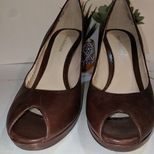 Enzo Angiolini Brown Leather Heels